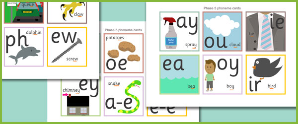 early learning resources phase 5 phoneme cards