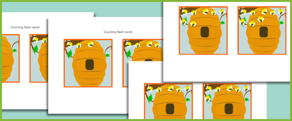 Classroom Ideas For New Years ~ Counting flash cards bees free early years primary
