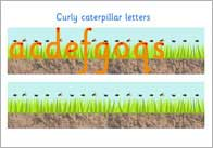 curly cat thumb Curly Caterpillar Letter Formation