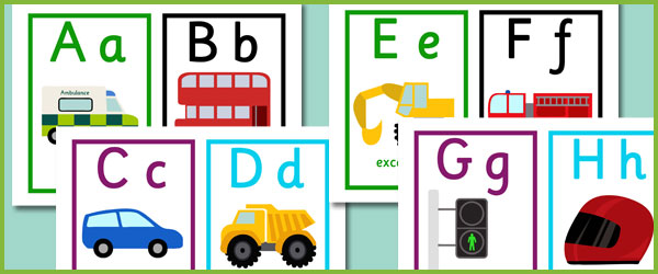 Early Learning Resources Road Transport Alphabet Cards ...