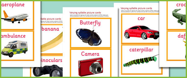 Premise Indicator Words: Early Learning Resources Varying Syllable Picture Cards