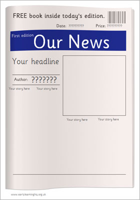 editable newspaper template free early years primary teaching