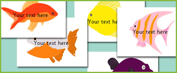 Fish Pictures U2013 Editable Text  Editable Leaf Template