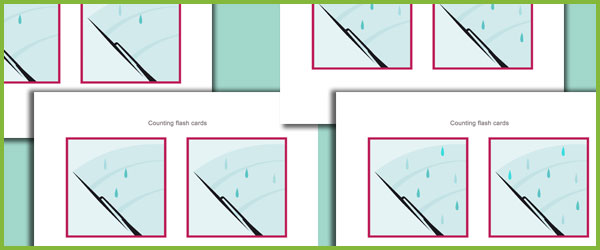 Raindrops Counting Flash cards