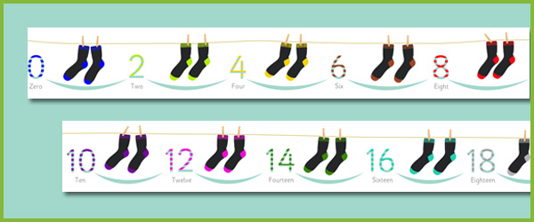 Counting in 2s (Socks), EYFS, KS1 number line | Free Early Years ...