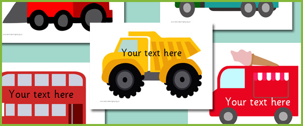 Vehicle picture cards