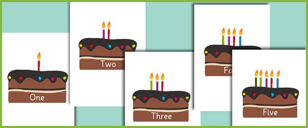 Editable Birthday Cake Numberline