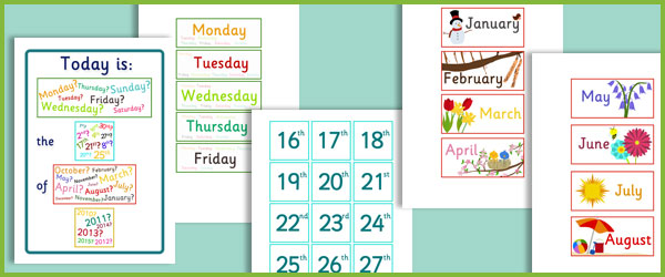 Calendar Ideas Early Years : Daily calendar free early years primary teaching