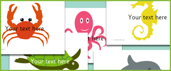 Under the Sea picture cards