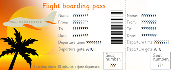 Editable airline tickets eyfs ks1 role play free early for Pretend plane ticket template