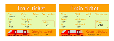Editable rail tickets eyfs ks1 role play free early for Train ticket template word