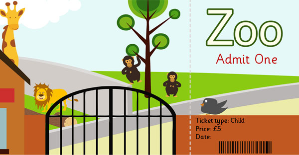 Zoo Role Play Ticket Eyfs Ks1 Free Early Years