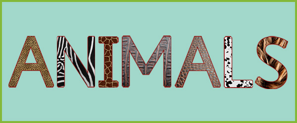 uppercase textured animal letters