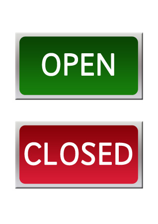 Open and closed role play signs free early years for Open closed sign template