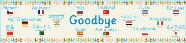 Multilingual 39 goodbye 39 banner free early years primary for Farewell banner template