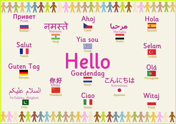 Multilingual 'hello' poster