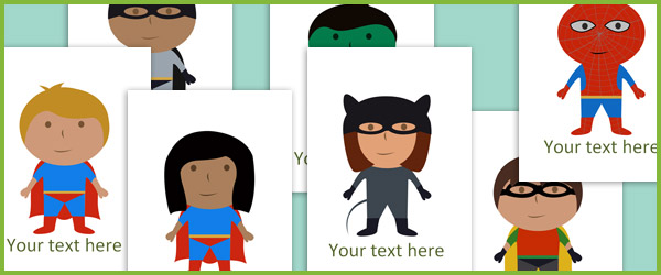 Editable superhero illustrations