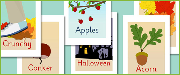 editable autumn picture cards