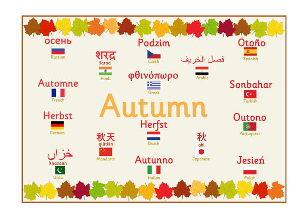 Multilingual Autumn Poster : Free Early Years u0026 Primary ...