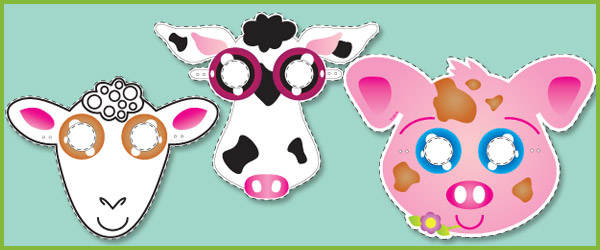 Farm yard animal masks