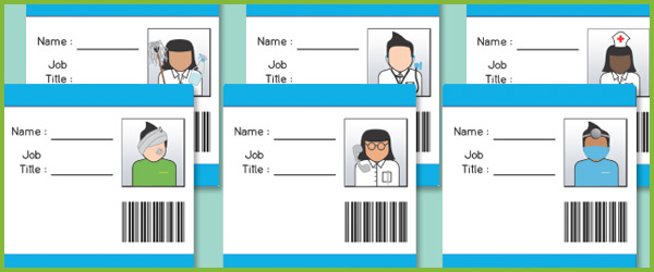 Hospital id badges eyfs role play free early years for Dr name tag template