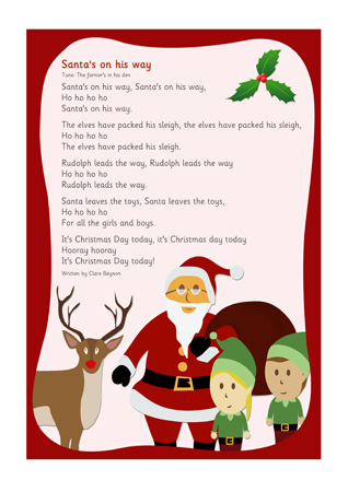 santas on his way christmas song free early years
