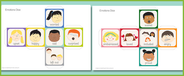 Emotions Dice (editable text) | Free EYFS & KS1 Resources