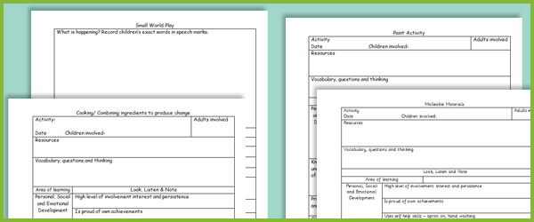 Eyfs activity observation planning sheets free early for Early years lesson plan template