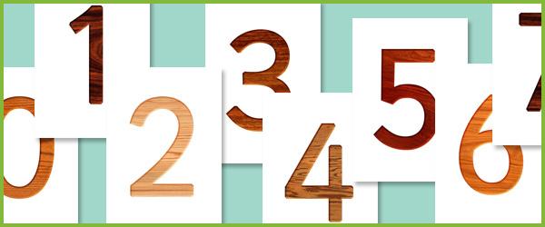 Wood textured numbers