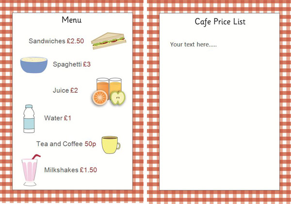 Editable cafe price list menu early years role play for Coffee price list template
