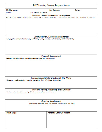 report writing template ks1 - eyfs learning journey progress report free early years
