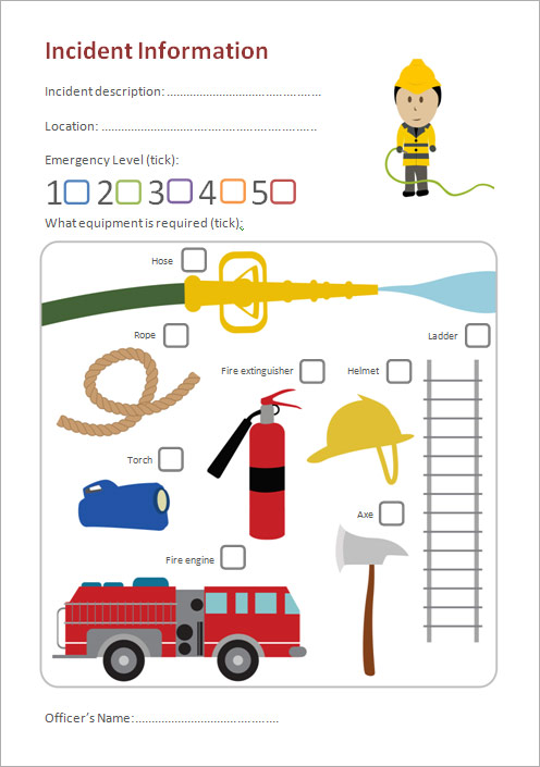 fire station role play incident form  eyfs  ks1