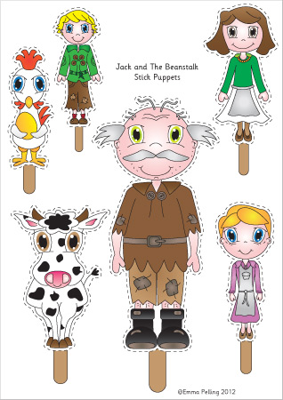 photograph about Jack and the Beanstalk Printable named Early Discovering Materials Jack the Beanstalk Adhere Puppets