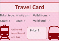 Editable Role Play Travelcard