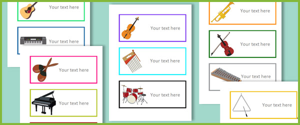Editable Musical Instrument Labels Free Early Years