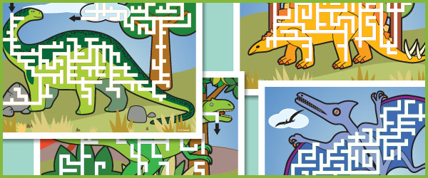 Dinosaur Maze Puzzles Free Early Years Amp Primary