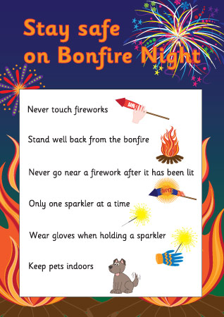Fireworks Safety Poster on Halloween Safety Rules