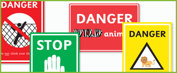 Zoo danger signs