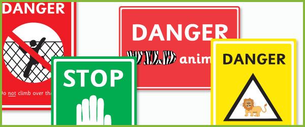 Zoo danger signs