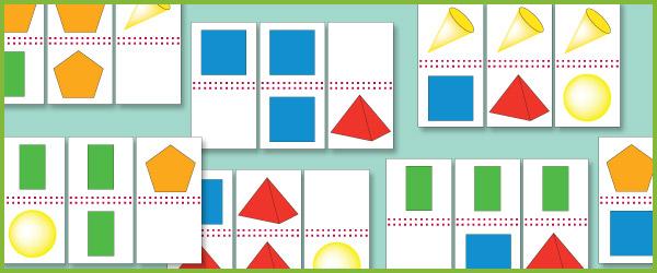 2D & 3D Shape Domino Cards
