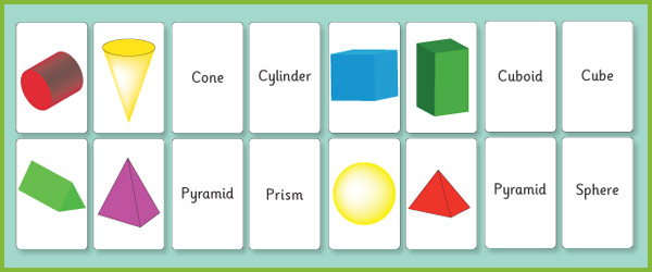 3D Shape Flash Cards
