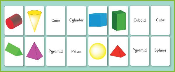 3D Shape Flash Cards