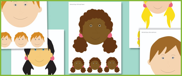 Hair & Eye Colour Picture Cards