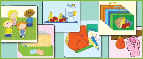 School Morning Routine Flashcards