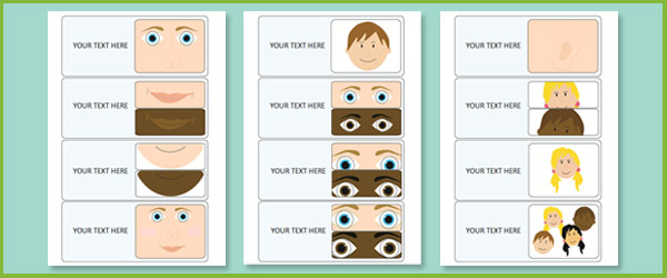 My Face Labels Flashcards on Emotions Dice Editable Text