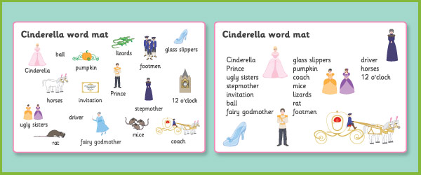 Cinderella Word And Image Mats Free Early Years