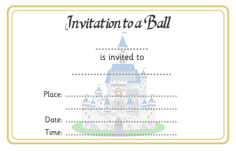cinderella ball invitation free early years primary teaching