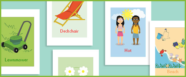 Summer Topic Word Cards (Editable)