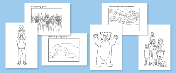 We 39 re Going on a Bear Hunt Colouring Sheets Free Early