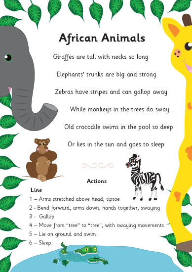 African animals poem